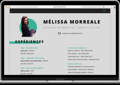 Conception web – Mélissa Morreale
